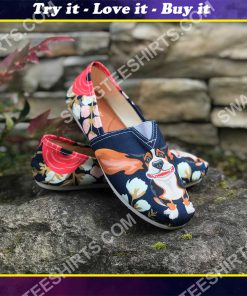 retro basset hound and flower all over printed toms shoes