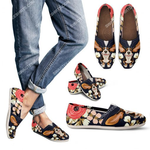 retro basset hound and flower all over printed toms shoes 3(1)