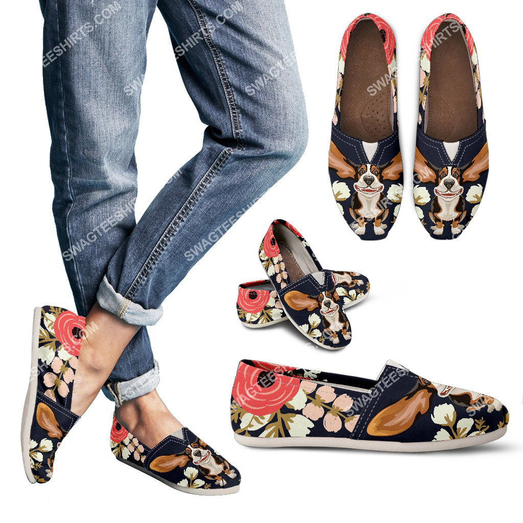 retro basset hound and flower all over printed toms shoes 3(1) - Copy
