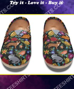 retro floral cats lover all over printed toms shoes
