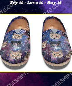 the galaxy cat lover all over printed toms shoes