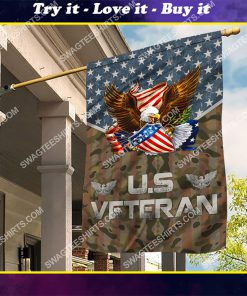 usa veteran with eagle all over printed flag