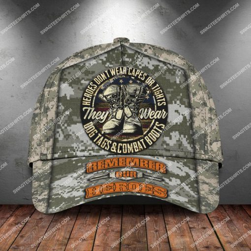 veterans day heroes wear dog tags and combat boots classic cap 2