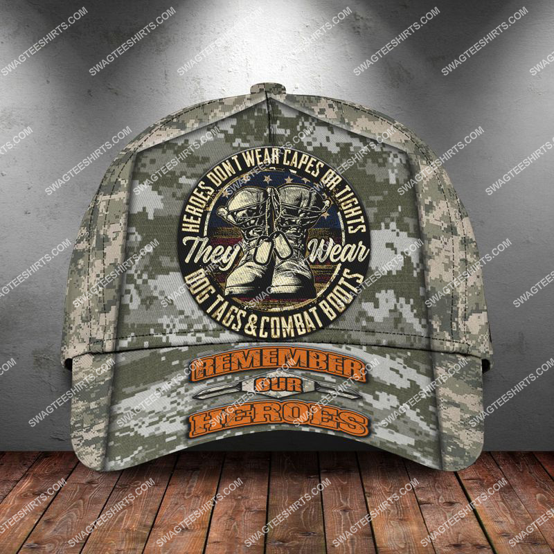 veterans day heroes wear dog tags and combat boots classic cap 2 - Copy