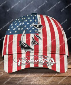vintage american flag fishing hook all over printed classic cap 2 - Copy (2)