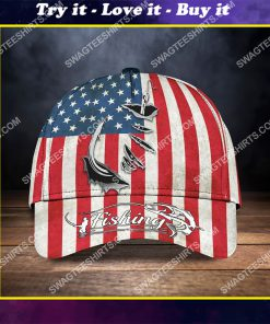 vintage american flag fishing hook all over printed classic cap