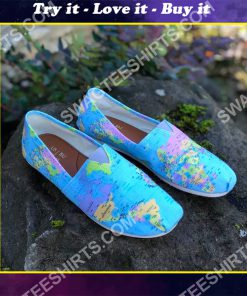 vintage geography globe all over printed toms shoes
