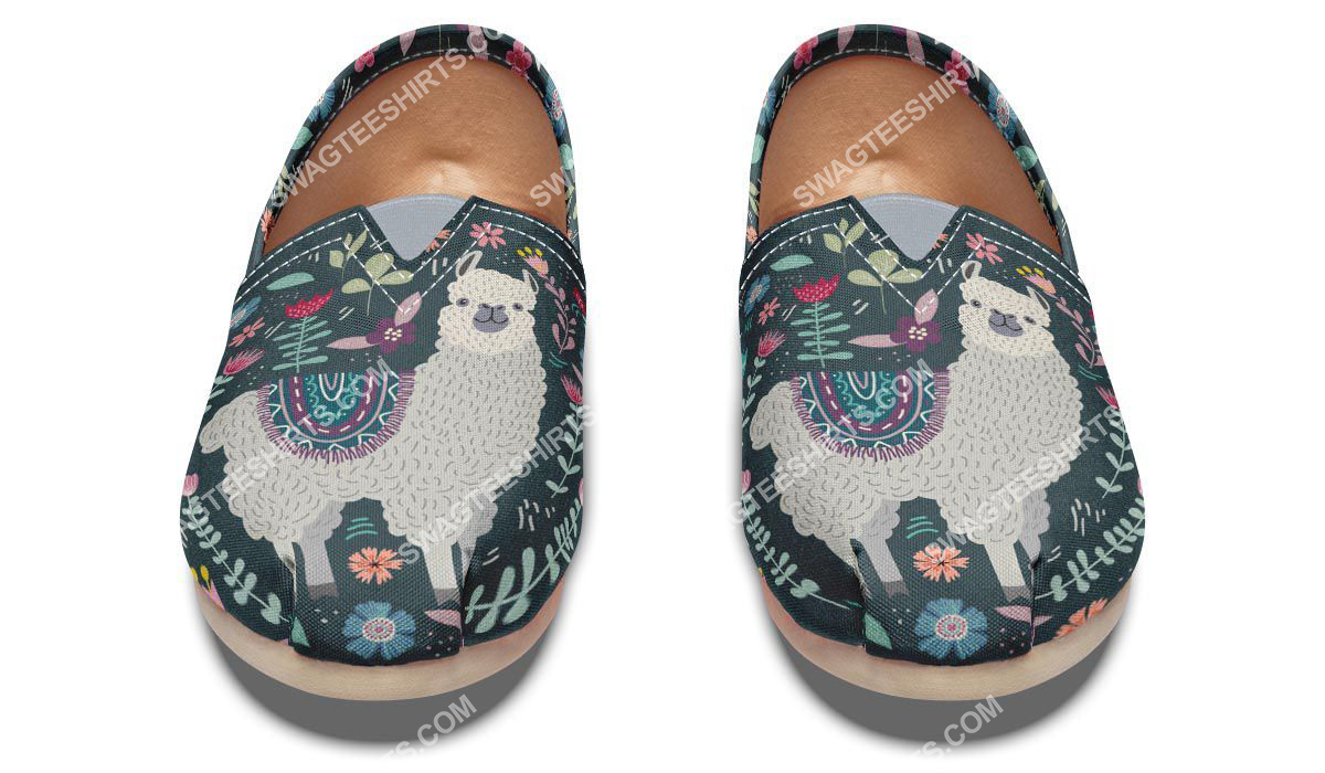 vintage llama and flower all over printed toms shoes 5(1)