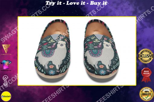 vintage llama and flower all over printed toms shoes