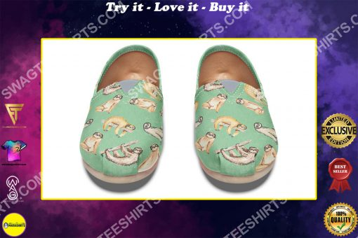 vintage sloth lover all over printed toms shoes