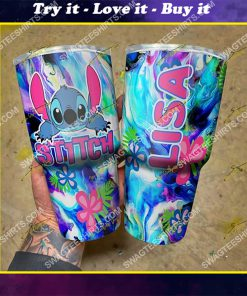 custom name floral and stitch steel tumbler