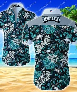 national football league philadelphia eagles floral hawaiian shirt 2