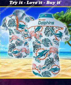 tropical miami dolphins all over print hawaiian shirt