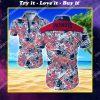 tropical new england patriots floral hawaiian shirt