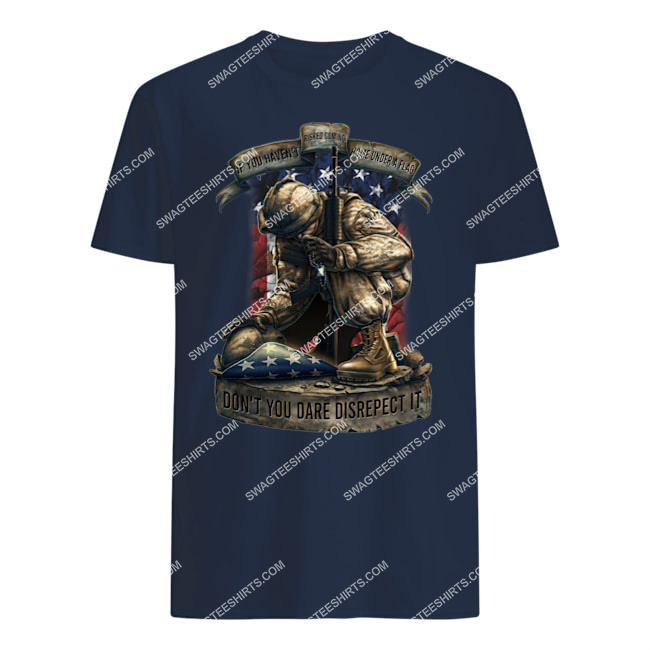 veteran if you haven't risked coming home under a flag don't you dare disrespect it tshirt 1