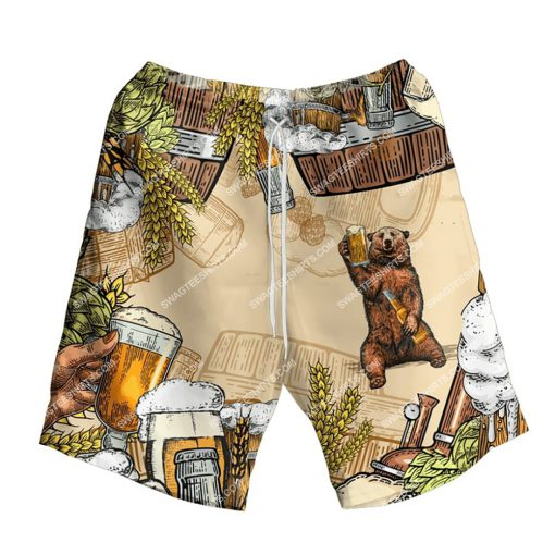 bear and beer summer party all over print shorts 1