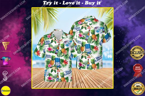 bud light beer and summer party all over print hawaiian shirt