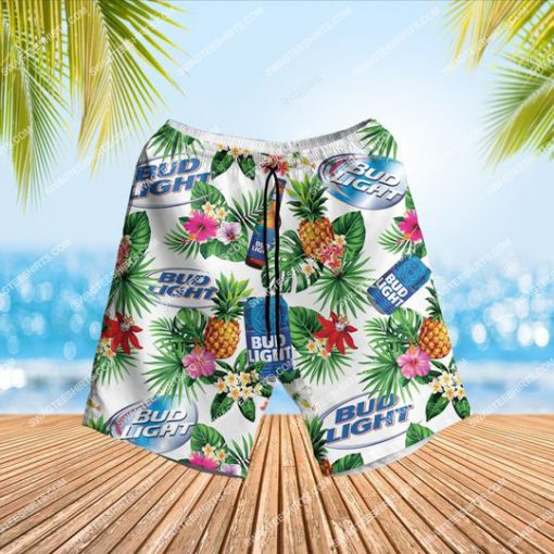 bud light beer and summer party all over print hawaiian shorts 1
