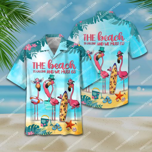 flamingo the beach is calling and we must go all over print hawaiian shirt 2(1)