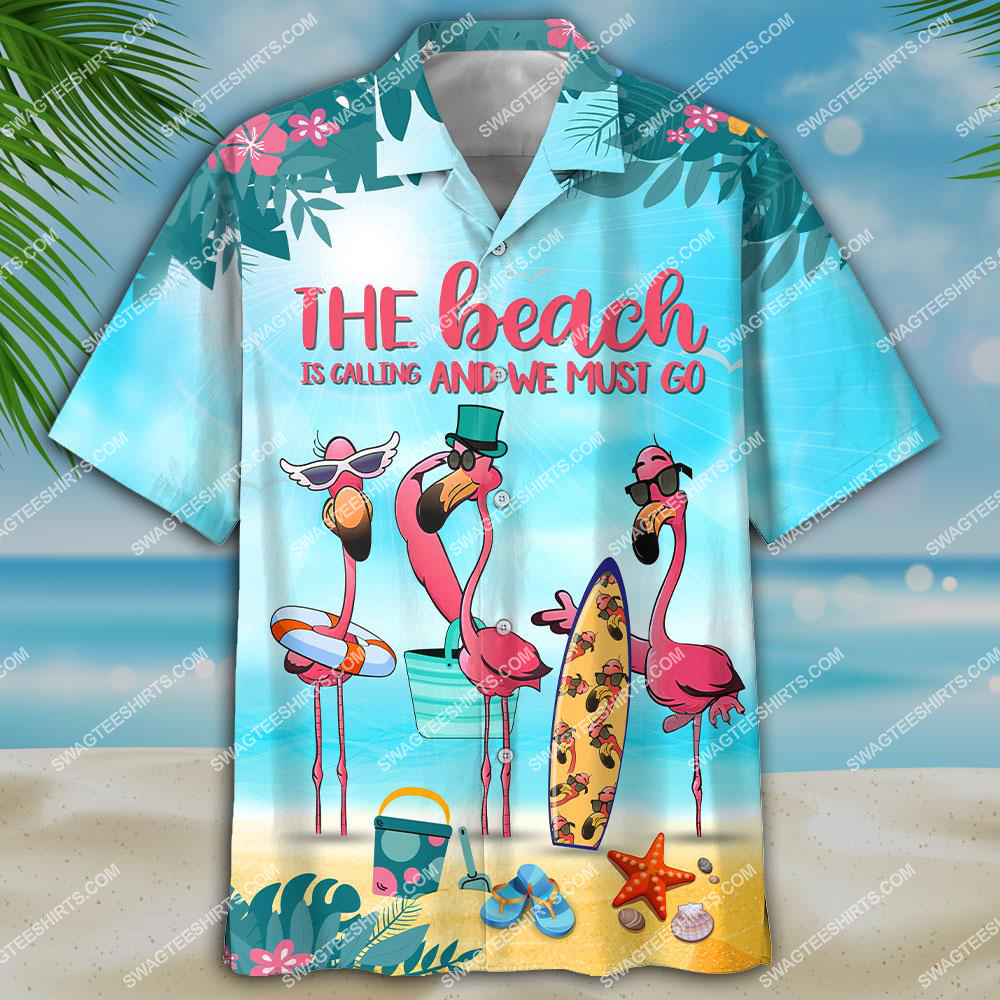flamingo the beach is calling and we must go all over print hawaiian shirt 3(1)