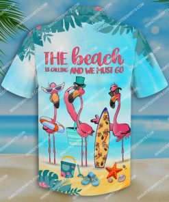 flamingo the beach is calling and we must go all over print hawaiian shirt 4(1)