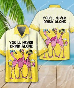 flamingo you'll never drink alone beer party all over print hawaiian shirt 3(1)