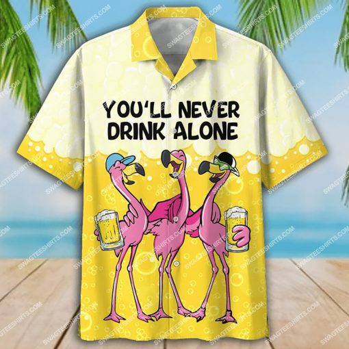 flamingo you'll never drink alone beer party all over print hawaiian shirt 4(1)