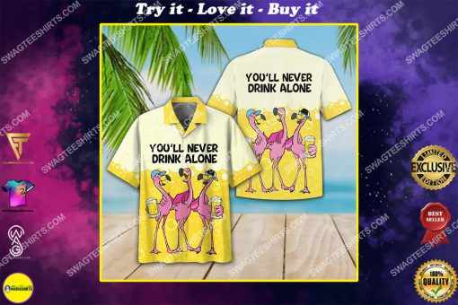 flamingo you'll never drink alone beer party all over print hawaiian shirt