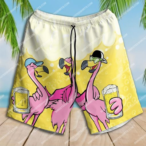 flamingo you'll never drink alone beer party all over print shorts 1