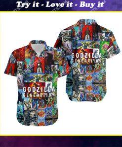 king of monsters godzilla generation all over print hawaiian shirt