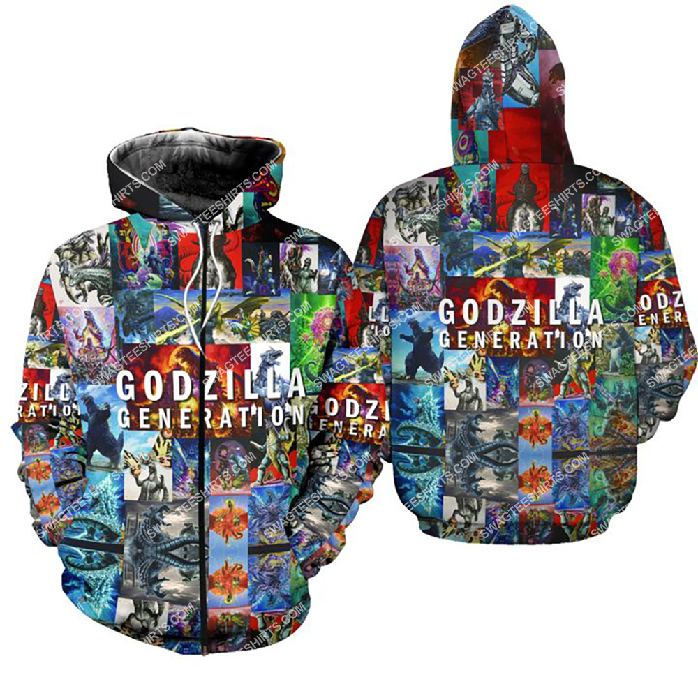 king of monsters godzilla generation all over print zip hoodie 1