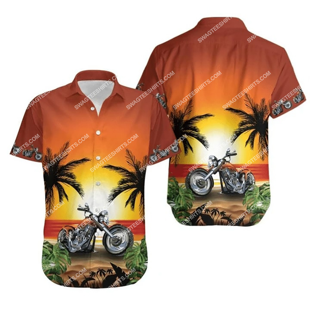 sunset on the beach and motorcycles all over print hawaiian shirt 1