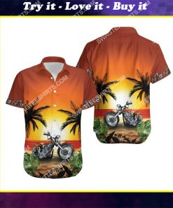 sunset on the beach and motorcycles all over print hawaiian shirt