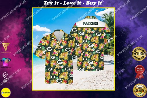 the green bay packers football team all over print hawaiian shirt