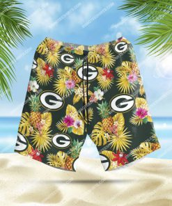 the green bay packers football team all over print hawaiian shorts 1