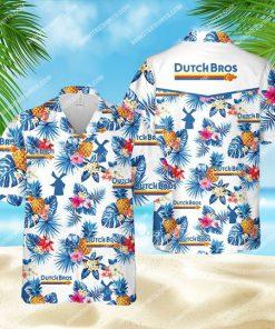 tropical dutch bros coffee all over print hawaiian shirt 1