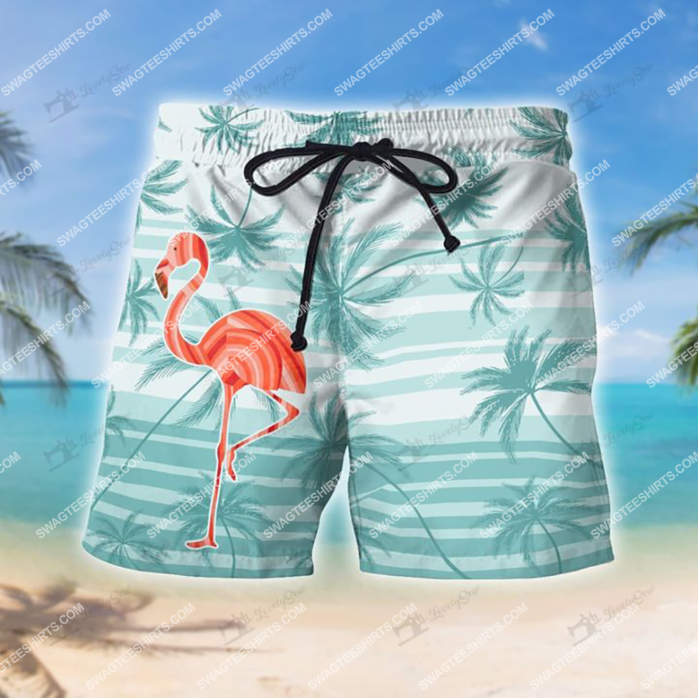 tropical flamingo and palm tree all over print shorts 1