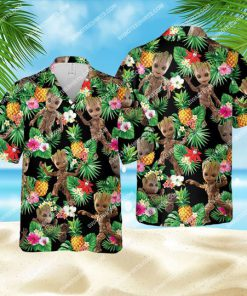 tropical floral baby groot all over print hawaiian shirt 1 - Copy