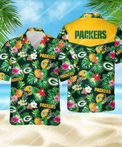 tropical floral green bay packers football all over print hawaiian shirt 1 - Copy
