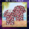 tropical flower pink floyd band all over print hawaiian shirt