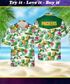 tropical fruits green bay packers all over print hawaiian shirt