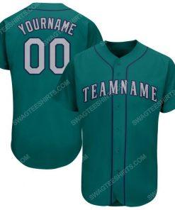 Custom team name aqua gray-navy full printed baseball jersey 1
