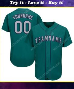 Custom team name aqua gray-navy full printed baseball jersey