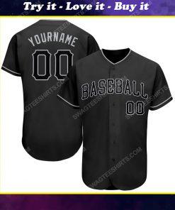 Custom team name black and gray full printed baseball jersey