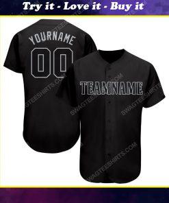 Custom team name black gray full printed baseball jersey