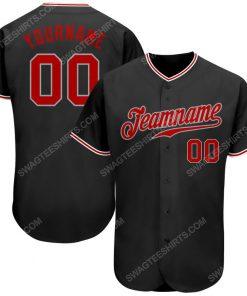 Custom team name black gray red full printed baseball jersey 1 - Copy (2)