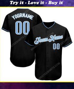 Custom team name black light blue-white full printed baseball jersey