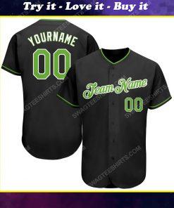 Custom team name black neon green-white full printed baseball jersey