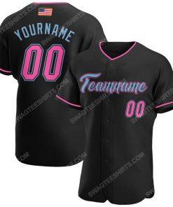 Custom team name black pink-light blue american flag baseball jersey 1 - Copy (2)