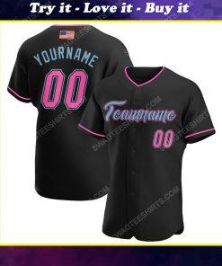 Custom team name black pink-light blue american flag baseball jersey
